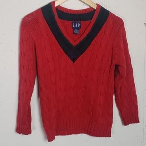Gap Boys M Red/ plaid vneck cable knit sweater